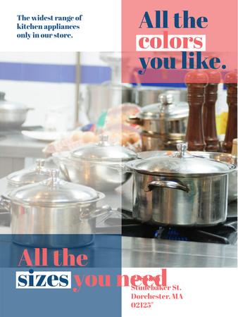 Modèle de visuel Kitchen Utensils Store Ad Pots on Stove - Poster US