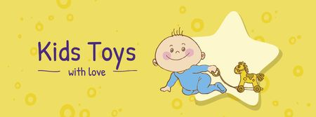 Ontwerpsjabloon van Facebook cover van Kids Toys Offer with Cute Infant