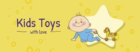 Kids Toys Offer with Cute Infant Facebook cover Tasarım Şablonu