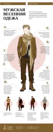 List infographics with Men's Outfit items Infographic – шаблон для дизайна