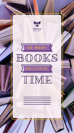 Book Store Promotion Books in Purple Instagram Video Story Modelo de Design
