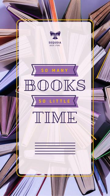 Book Store Promotion Books in Purple Instagram Video Story Modelo de Design