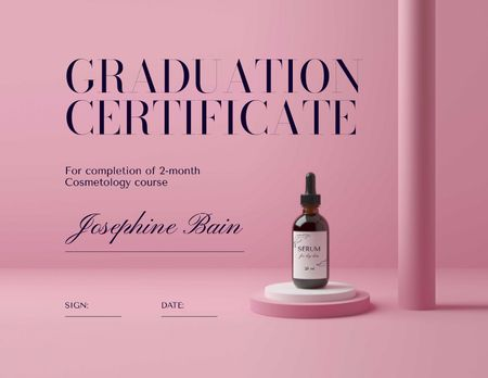 Beauty Course Completion Award with Natural Oil Jar Certificate – шаблон для дизайну