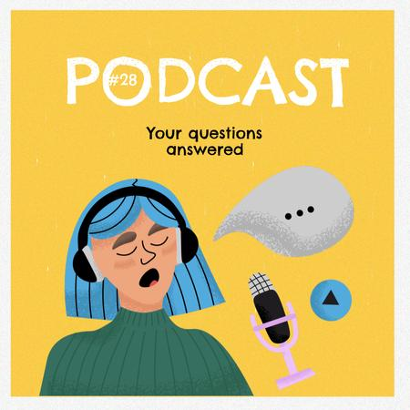Podcast Announcement with Girl in Headphones Instagram Design Template