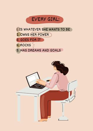 Ontwerpsjabloon van Poster van Girl Power Inspiration with Woman on Workplace