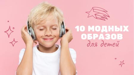 Boy listening to music in Headphones Youtube Thumbnail – шаблон для дизайна