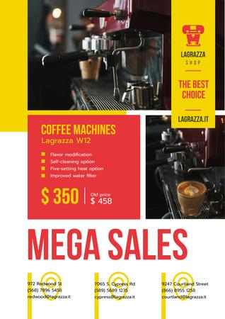 Coffee Machine Sale with Brewing Drink Poster Modelo de Design