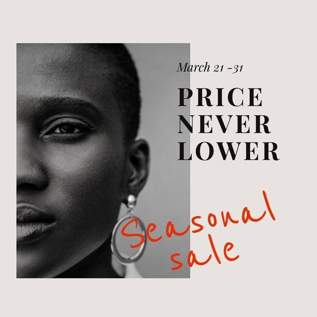 Women's Day Sale with Woman in luxury earrings Instagram AD – шаблон для дизайна