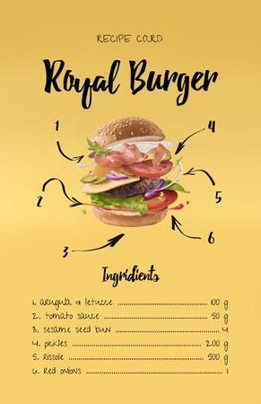 Modèle de visuel Delicious Burger Cooking Ingredients - Recipe Card