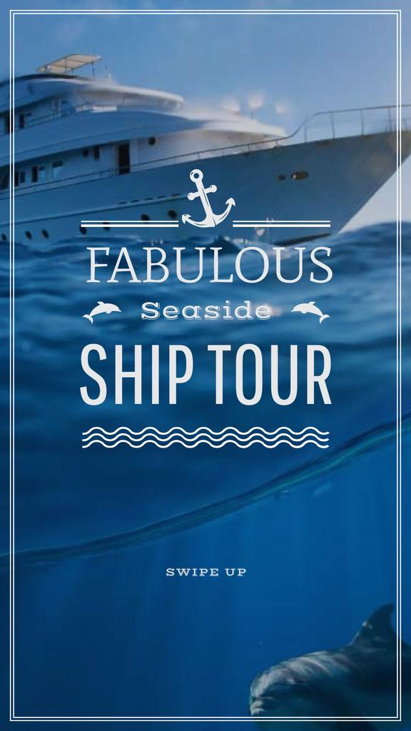 Seaside Tour Promotion Ship in Sea Instagram Story Modelo de Design