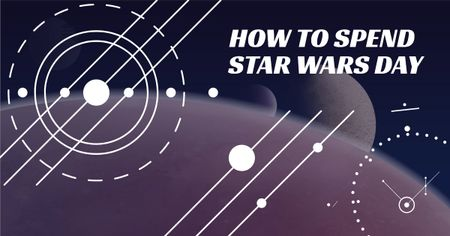 Plantilla de diseño de Star Wars Day Lines on space background Facebook AD