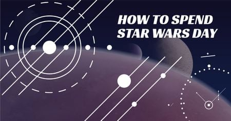 Modèle de visuel Star Wars Day Lines on space background - Facebook AD