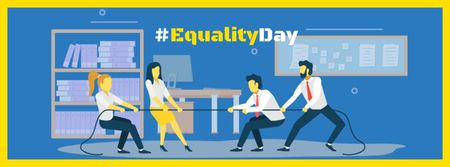 Designvorlage Equality Day Ad with Businesspeople tug of war für Facebook cover