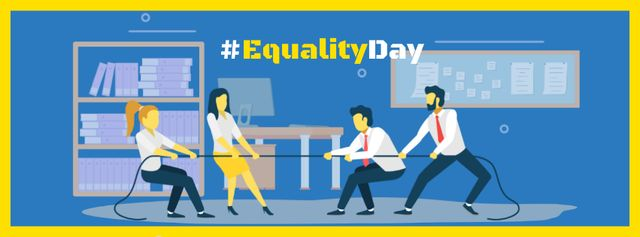 Equality Day Ad with Businesspeople tug of war Facebook coverデザインテンプレート