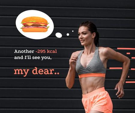 Funny Joke about Diet with Fit Woman Facebook Modelo de Design