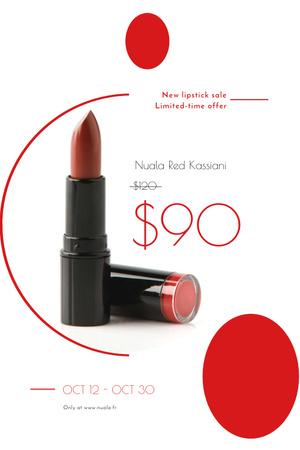 Plantilla de diseño de Cosmetics Sale with Red Lipstick Pinterest