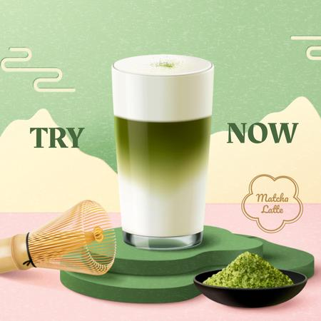 Matcha Tea Offer with Utensils and Powder Instagram Modelo de Design