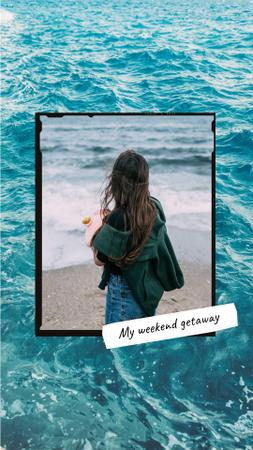 Girl enjoying her Trip to the Sea Instagram Story Design Template