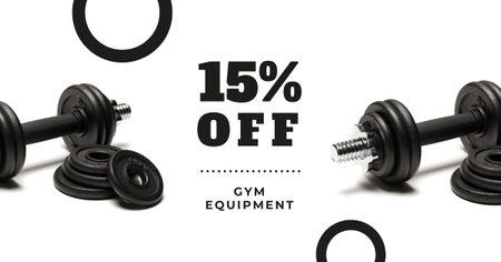 Gym Equipment Store Offer with Dumbbells Facebook AD Modelo de Design