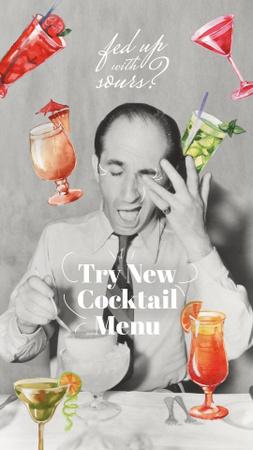 Ontwerpsjabloon van Instagram Story van Cocktail Menu Announcement with Funny Retro Man
