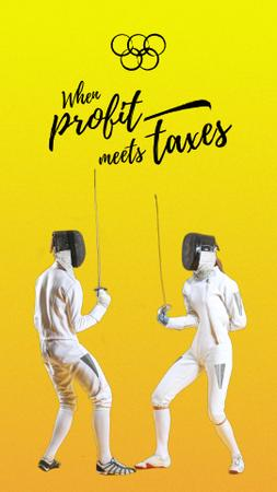 Designvorlage Profit and Taxes as fighting fencers für Instagram Video Story