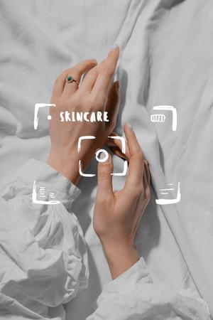 Skincare Ad with Tender Female Hands Pinterest – шаблон для дизайна