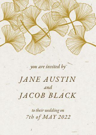 Wedding Day Announcement with Flowers Illustration Invitation – шаблон для дизайну