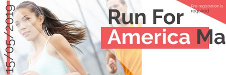 Ontwerpsjabloon van Email header van Marathon Announcement with Running Woman