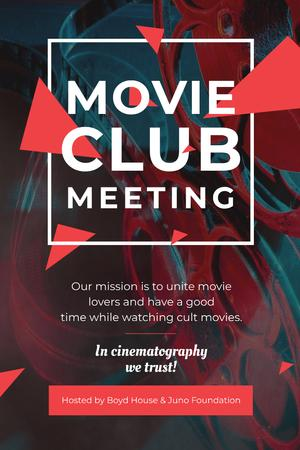 Plantilla de diseño de Movie Club Meeting with Vintage Projector Pinterest