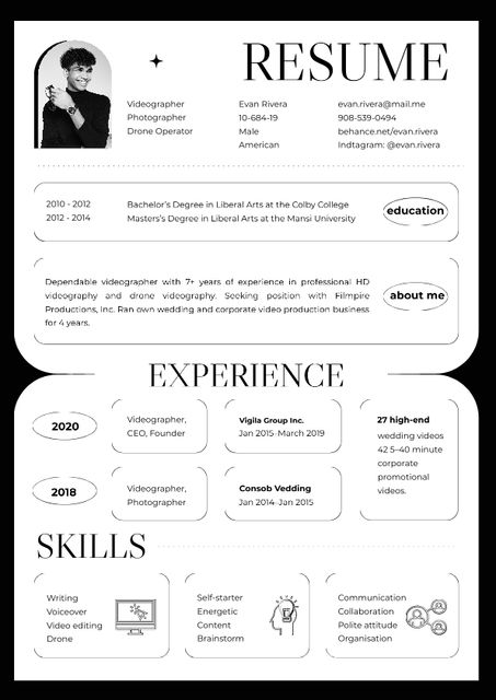 Plantilla de diseño de Videographer skills and experience Resume