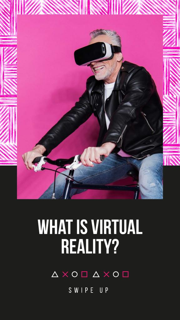Modèle de visuel Virtual Reality Ad with Man in Glasses - Instagram Story