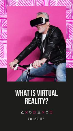 Ontwerpsjabloon van Instagram Story van Virtual Reality Ad with Man in Glasses