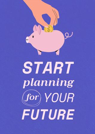 Saving Money with Piggy Bank Poster – шаблон для дизайну