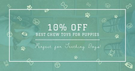 Designvorlage Chew Toys Offer with Cute Puppy für Facebook AD