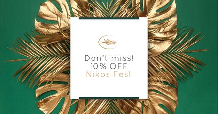 Designvorlage Nikos Fest Special Offer with Golden Branches für Facebook AD