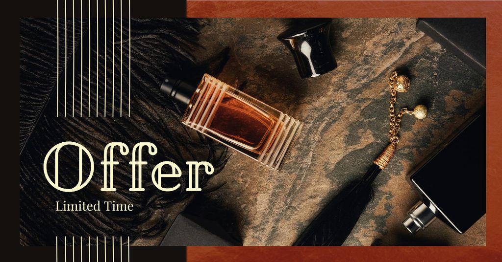 Plantilla de diseño de Glass bottles with perfume Facebook AD