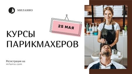 Hairdressing Courses stylist with client in Salon FB event cover – шаблон для дизайна