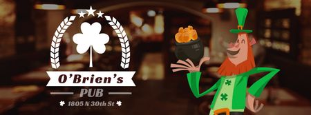 Ontwerpsjabloon van Facebook Video cover van Saint Patrick's leprechaun with coins