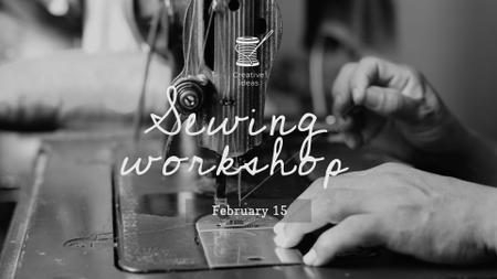 Tailor sews on Sewing Machine FB event cover – шаблон для дизайна