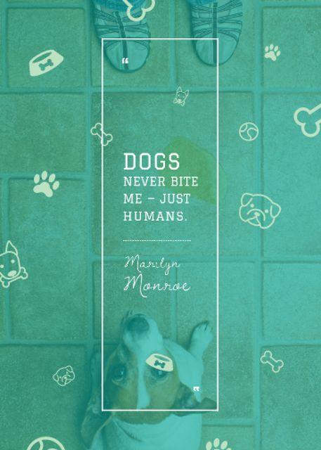 Ontwerpsjabloon van Invitation van Dogs Quote with cute Puppy
