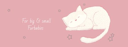 Ontwerpsjabloon van Facebook cover van Grooming Service Ad with Cute Sleepy Cat