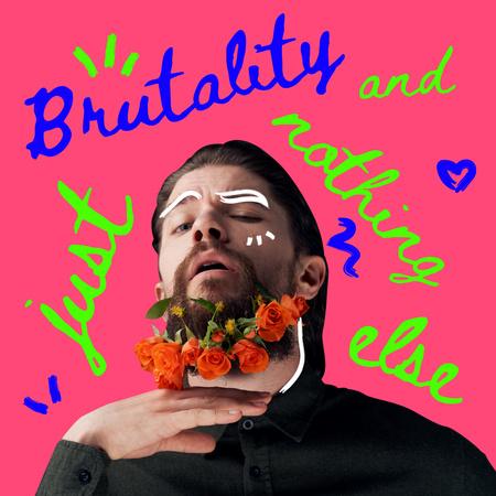 Handsome Man with Roses in Beard Instagram – шаблон для дизайну