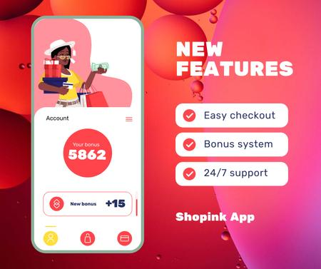 Template di design Online Shopping Ad Woman with bags on Phone screen Facebook