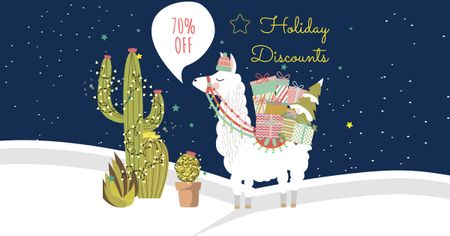 Holiday Discounts Offer with Cute Lama Facebook AD – шаблон для дизайна