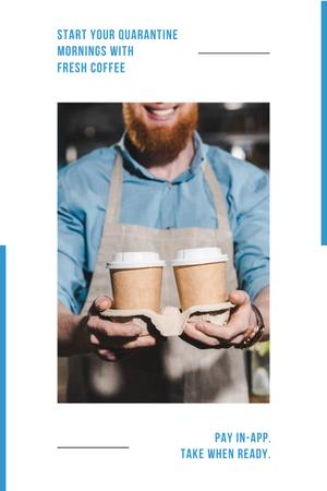 Plantilla de diseño de Online ordering Offer with Coffee to go Pinterest