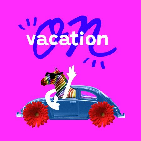 Designvorlage Funny Colorful Zebra travelling by Floral Car für Instagram