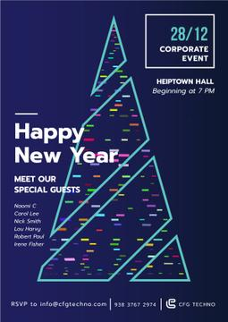 New Year Invitation with Stylized Christmas tree
