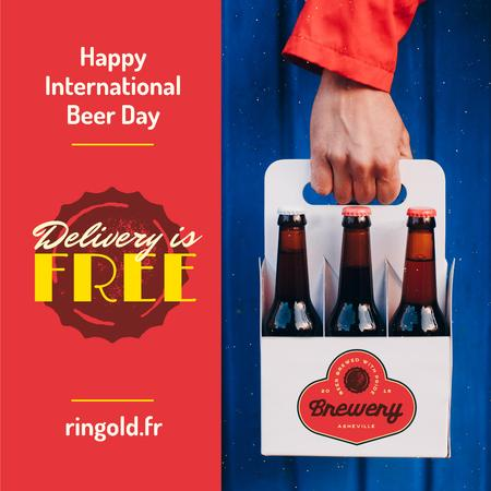 Ontwerpsjabloon van Instagram van Beer Day Greeting with Courier Delivering Bottles