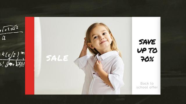 Back to School Sale Smiling Girl in Shirt Full HD videoデザインテンプレート