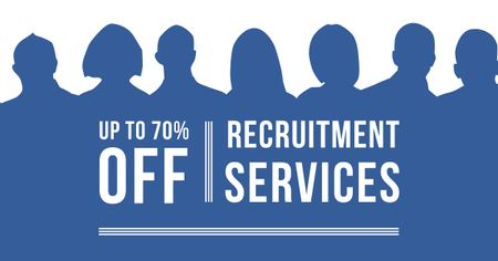 Recruitment Services Offer with People Silhouettes Facebook AD Modelo de Design